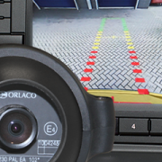 Special reversing camera with guidelines